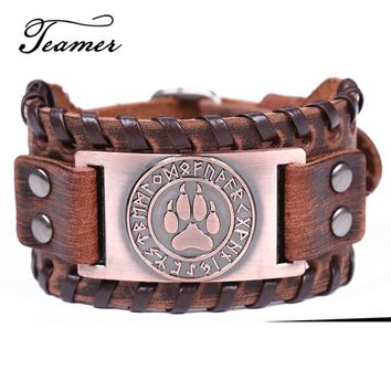 Teamer Bear Paw Pattern Rune Charm Bracelets for Men Slavic Kolovrat Amulet Jewelry Vintage Antique Silver Leather Wide Bracelet