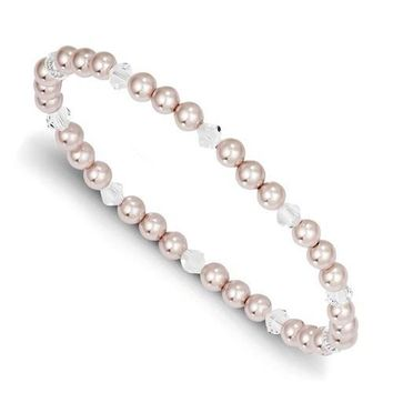 4mm Pink Pearl & Swarovski Crystal Child Stretch Bracelet