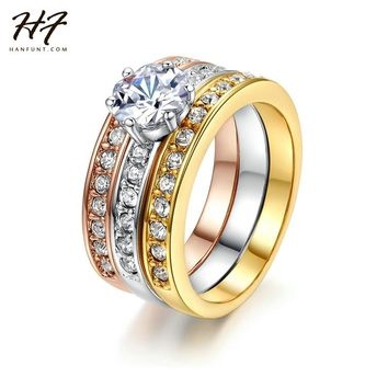 3 Rounds CZ Crystal Paved Flower Engagement Rings Sets Rose Gold Color Crystal Wedding Jewelry For Women R107