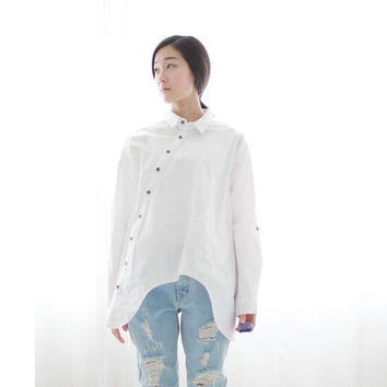 2016 New Women Shirt Cotton Linen Slant Oblique Button White Blue Floral Turn-down Collar Irregular Plus Size Solid Loose Blouse