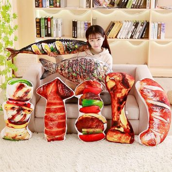 YESFEIER Cute Simulation Food Plush Pillow Huge Grilled Meat Pillow Plush Grilled fish Barbecu And Big Bone Stuffed Toy