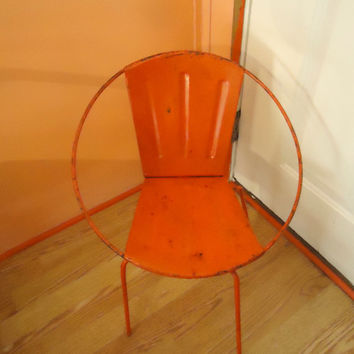 "1950's Mid Century Modern Child's Atomic, ""Sputnic"" Saucer, Orange Rotating, Round Frame, Metal Chair, Very Good, Vintage Condition"