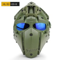 Tactical Safety Helmet with Defogging Built-in Fan OBSIDIAN GREEN GOBL TERMINATOR Helmet&Mask goggle for Military Hunting Helmet