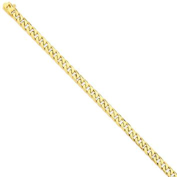 14k Yellow Gold 6.80mm Men Flat Beveled Curb Chain Bracelet - Fine Jewelry Gift