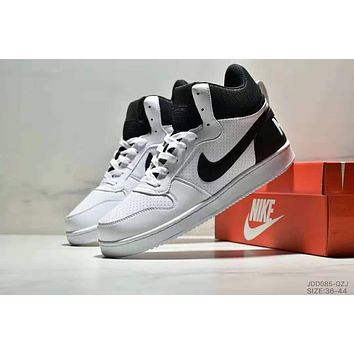 NIKE COURT BOROUGN MID trend men and women models wild fashion casual shoes white+black hook