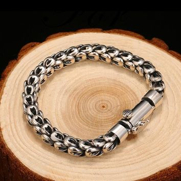 NEW SILVER BRACELETS MAN HIGH POLISH CURB LINK CHAIN BRACELET FOR MEN VINTAGE PUNK