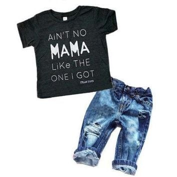 T-shirt Top Tee + Ripped Denim Pants Outfits Set