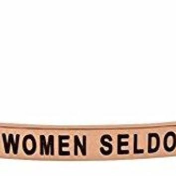 Inspirational Quote Bracelet WELL BEHAVED WOMEN SELDOM MAKE HISTORY Engraved Positive Sayings Message Mantra Cuff Bangle for Women and Teen Girls