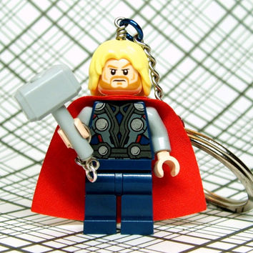 Thor Keychain - made from Superhero LEGO (r) Thor Minifig