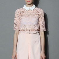 Pinky Blossom Lace Top Pink S/M