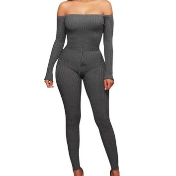 Chloe Off Shoulder Knit Bodycon Jumpsuit - Gray
