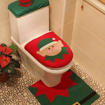 3PCS Christmas Decoration Bathroom Toilet Seat Cartoon Cover Set