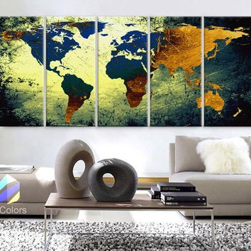 """XLARGE 30""""x 70"""" 5 Panels 30""""x14"""" Ea Art Canvas Print World Map Texture Abstract yellow blue Wall Decor Home Office (Framed 1.5"""" Depth)"""
