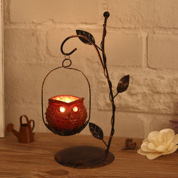 HANDMADE OWL CANDLE HOLDER
