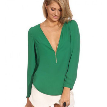 Womens Zipper Chiffon Long Sleeve Shirts Gift 14