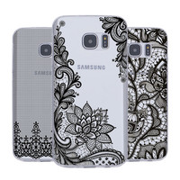 Sexy lady Lace Case For Samsung s6 J5 7 edge plus secret Letter Cover Case For Soft TPU Cases phone Back Cover