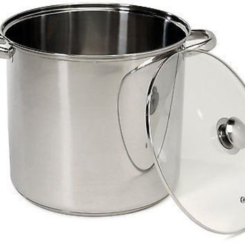 16 Quart Stainless Steel Stockpot Tempered Glass Lid Base Cook
