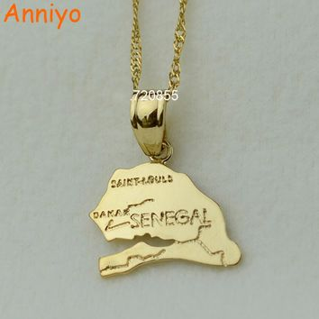 Anniyo the republic of senegal map pendant necklaces afrika women girl gold color jewelry africa items
