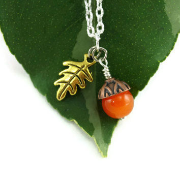 Acorn Necklace, Acorn Oak Leaf Pendant, Tangerine Gold Copper Acorn, Whimsical Woodland Jewelry, Mother's Day, Bridal Jewelry