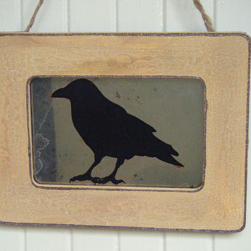 Rustic Raven Poe Primitive Wall Decor Antiqued Mirror Blackbird Crow Farmhouse Country Shabby Chic Prairie Home Gallery Wall