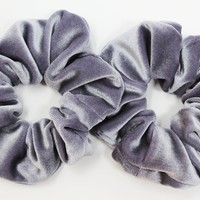 Grey Velvet Hair Scrunchies, Hair Ties, Gentle Hair Elastic, Hair Accessories and Handmade Favors or Gifts
