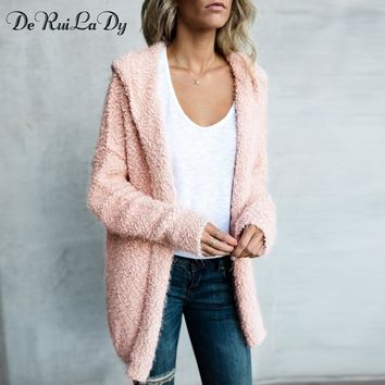DeRuiLaDy Autumn Winter Fashion Long Cardigan Sweater Women Casual Hooded Cardigans Sweaters Knitted Long Sleeve White Gray Coat