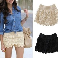 Leshery Hot Fashion Womens Lady Korean Sweet Crochet Tiered Lace Shorts Skorts Short New (XL, beige)