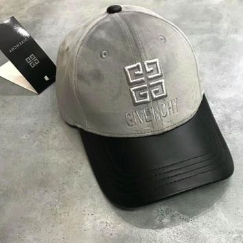 GIVENCHY Fashion Unisex Velvet Stereoscopic Embroidered Leather Trimmed With Drill Adjustable Pull Ring Hat Cap Grey I-A-HRWM