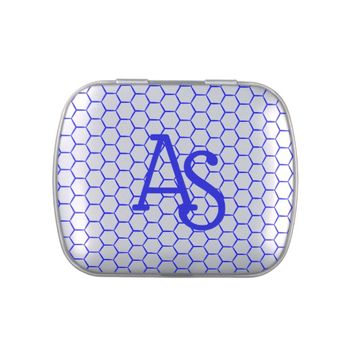 Blue pattern. Hexagonal grid. Monogram. Candy Tin