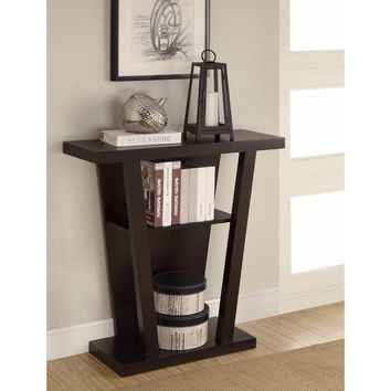 Angled Wooden Console Table With Storage Space, Brown By Coaster