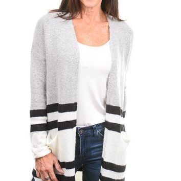 Heather Gray Varsity Striped Long Cardigan
