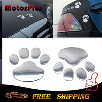 2PCS Funny Car Sticker 3D Dog Cat Bear Paw Footprint Chrome Badge Emblem Motorcycle Decal For Bumper Window Home Fridge Wall