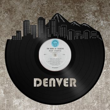 Denver Art - Denver Skyline Wall Decor, Denver Cityscape, Personalized Vinyl Record Skyline Art, Perfect Birthday, Anniversary, Wedding Gift