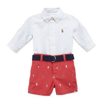 Striped Oxford & Schiffli Shorts Set, 3-12 Months
