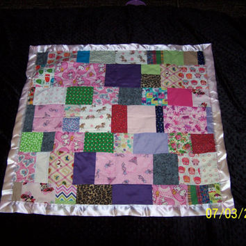 One of a kind...Baby Girl, Toddler Quilt , I Spy Quilt for Girls, Handmade Patchwork Quilt with satin binding