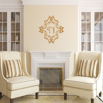 Monogram Damask Frame Style C Vinyl Wall Decal 22510
