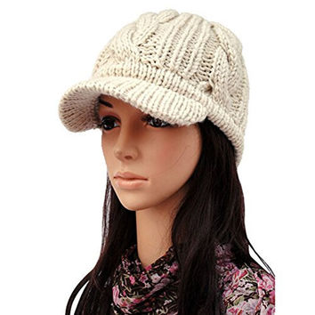Women's Winter Warm Knit Beanie Hat Wool Ski Caps with Visor Beige
