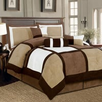 Textiles Plus Inc. Microsuede Patchwork Bed in a Bag 7 Piece Comforter Set