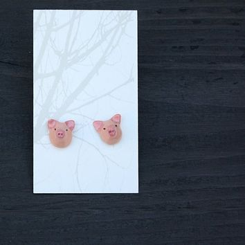 totem animal earrings pig by HandyMaiden on Etsy