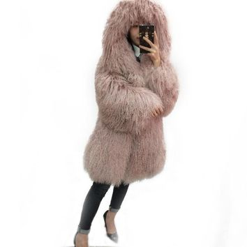 fashion beach wool full leather long design coat mongolia sheep fur coat overcoat outerwear jacket women with a hood female