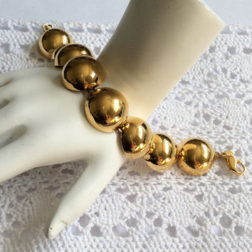 Monet Bracelet, Gold Tone, Polished Gold Tone, Vintage Jewelry, SUMMER SALE