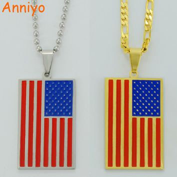 Anniyo USA National Flag Necklaces United States of American Jewelry Stainless Steel for Men/Women/Patriotic Gifts #004621