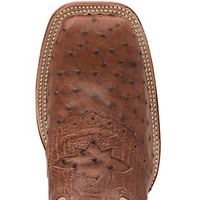 Cavender's Men's Cognac Full Quill Ostrich w/ Bone Top Saddle Vamp Double Welt Square Toe Exotic Western Boots