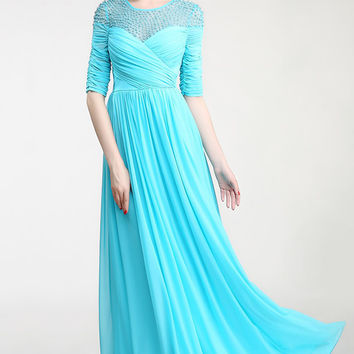 Real Nice Light Sky Blue Chiffon Half Sleeves Prom Dresses ED0841