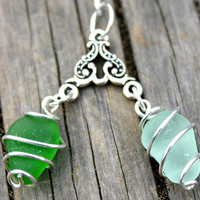 Dual Green Sea Glass Necklace by SeaglassReinvented