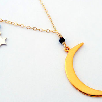 Moon And Stars 24K Gold Vermeil Sterling Silver Night Sky Necklace - Blue Tourmaline Black Crystal Galaxy Necklace - Celestial Jewelry