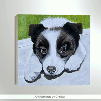 Custom portrait Dog portrait Personalized pet art Memorial art Nursery art Dog painting Dog Canvas Greek art Oil painting Pet lovers 6x6