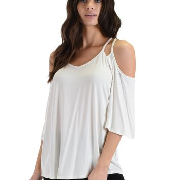 SL4321 White Short Sleeve Cold Shoulder Top With Double Spaghetti Straps