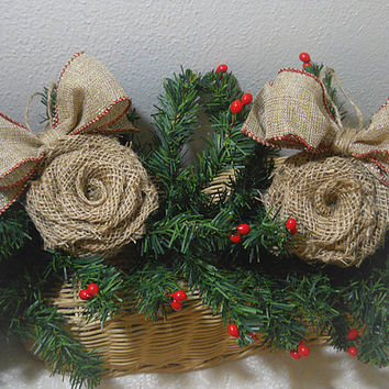 Ready to Ship! Set of 2 Burlap Rose Bow Christmas Ornaments handmade of garden burlap and twine. Will ship priority mail within 24 hours!