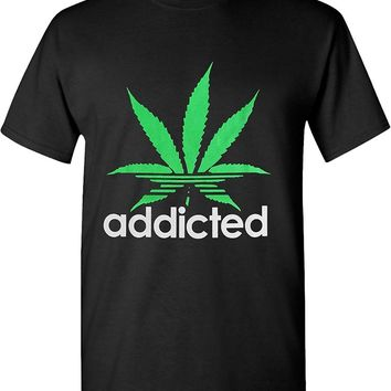 Addicted Green Weed Leaf Marijuana 420 Solid Graphic T-Shirts